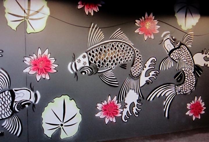 Koi Fish Wall Mural Stencil