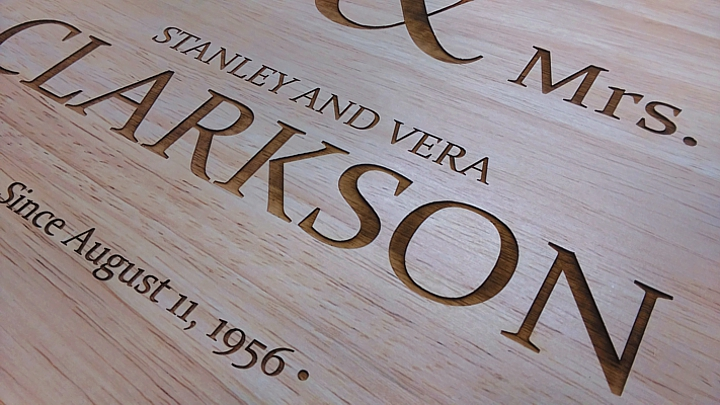 laser engraved wooden board