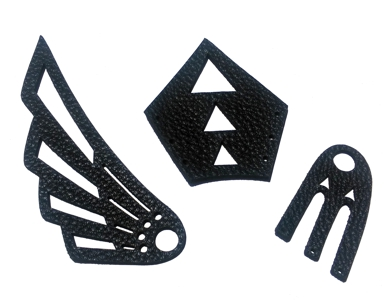 quality black leather cutting