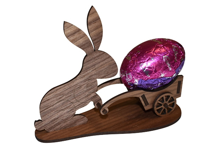 laser cut wooden easter bunny rear