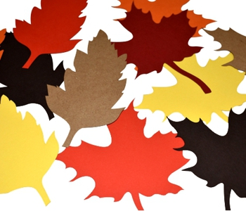 laser cut paper leaves coloured