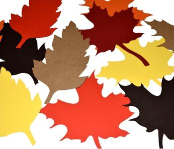 laser cut paper leaves coloured