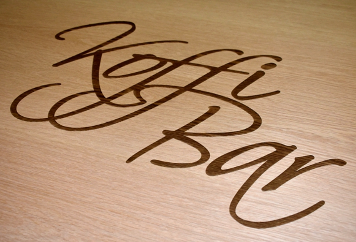koffi bar engraved wood
