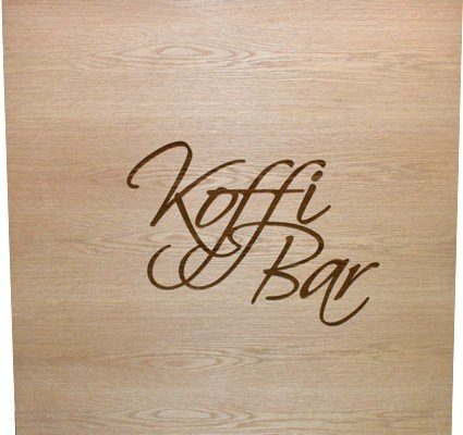 Koffi Bar Laser Engraved Oak Wood