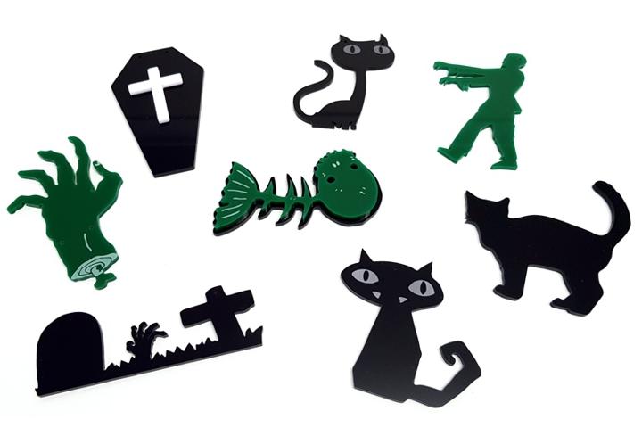 laser cut acrylic halloween shapes