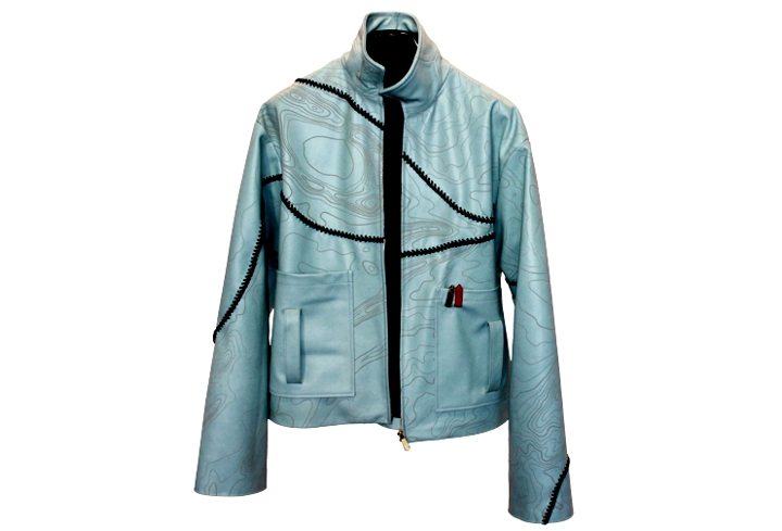 laser etched leather jacket front