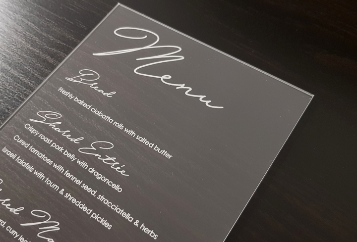 laser etched acrylic menu