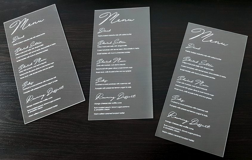 laser etched acrylic menus
