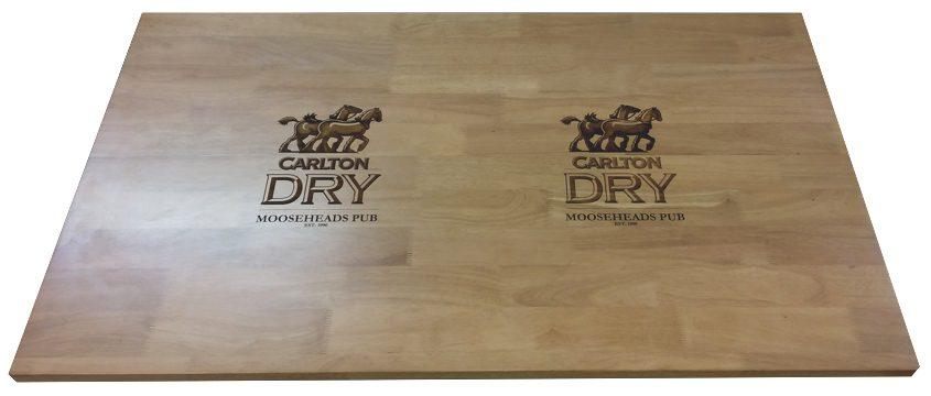 engraved wood tabletop