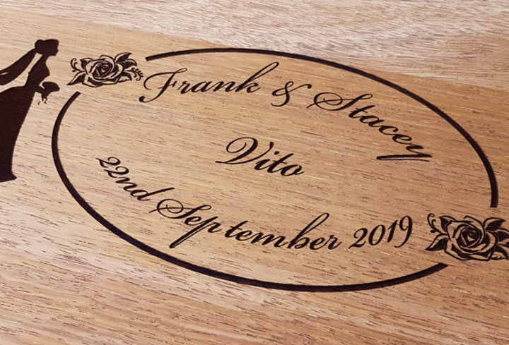 Engraved Merbau Wedding Guest Signature Board