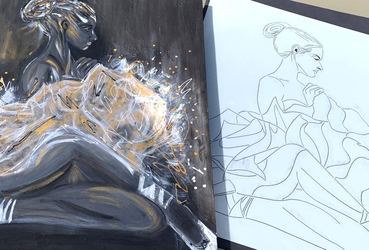 mylar stencil canvas art