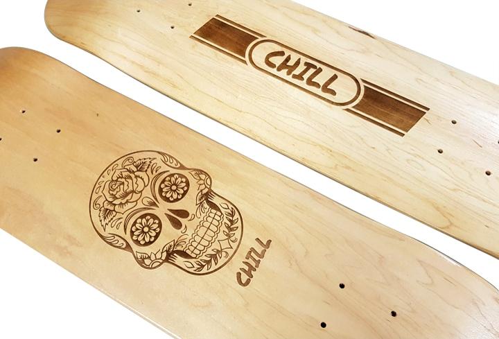 skateboard laser engraving